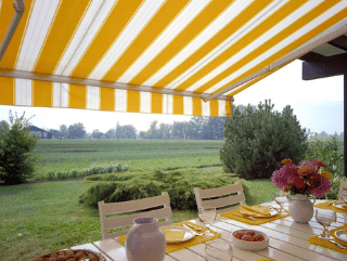 Yellow and white stripe patio awnings
